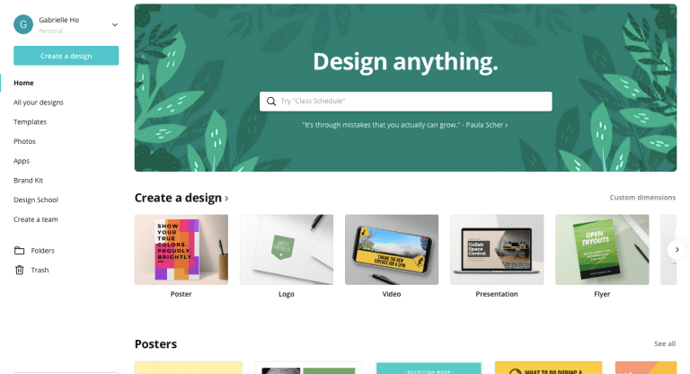 Canva, a website for different design resources for free