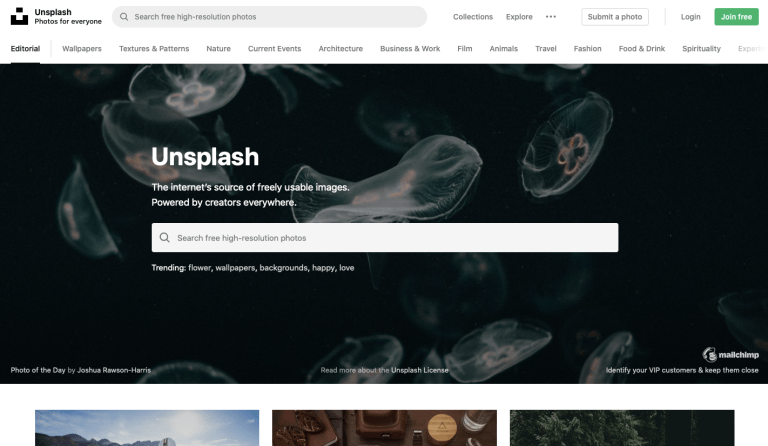 design resources like free images offered on unsplash