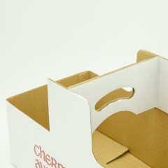 Thick corrugated paper basket with pre-glued handle and 2-colour logo print