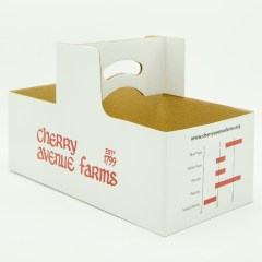 Paper basket with pre-glued handle and 2-colour logo print