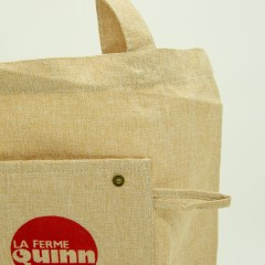 hemp bag with metal snaps, front pocket and folding capabilities