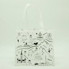 100g non-woven bag with simple, 1-colour doodle print