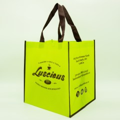 120g non-woven bag with a glossy lamination and 2 colour print and contrasting piping/handle