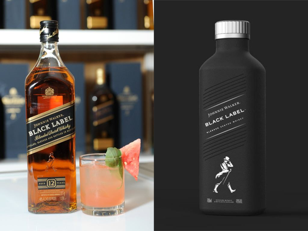 The first packaging innovation we're going to talk about is Johnnie Walker's paper-based spirit bottle