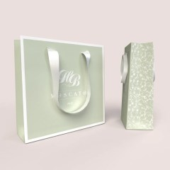 210g white cardboard paper bag with white satin ribbon