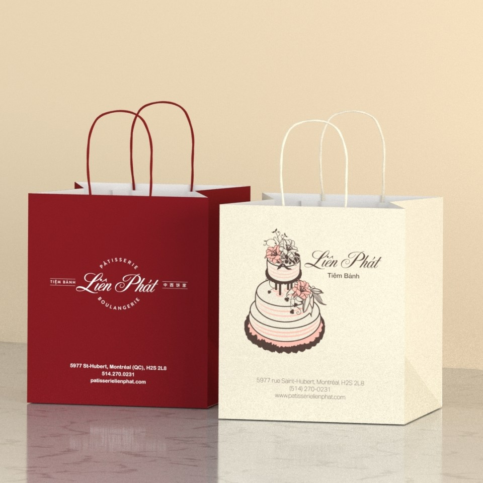 line up of Liên Phát branding packaging to compare traditional and modern designs.