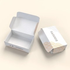 a classic takeout container structure, this product has a white base and multicolour print design