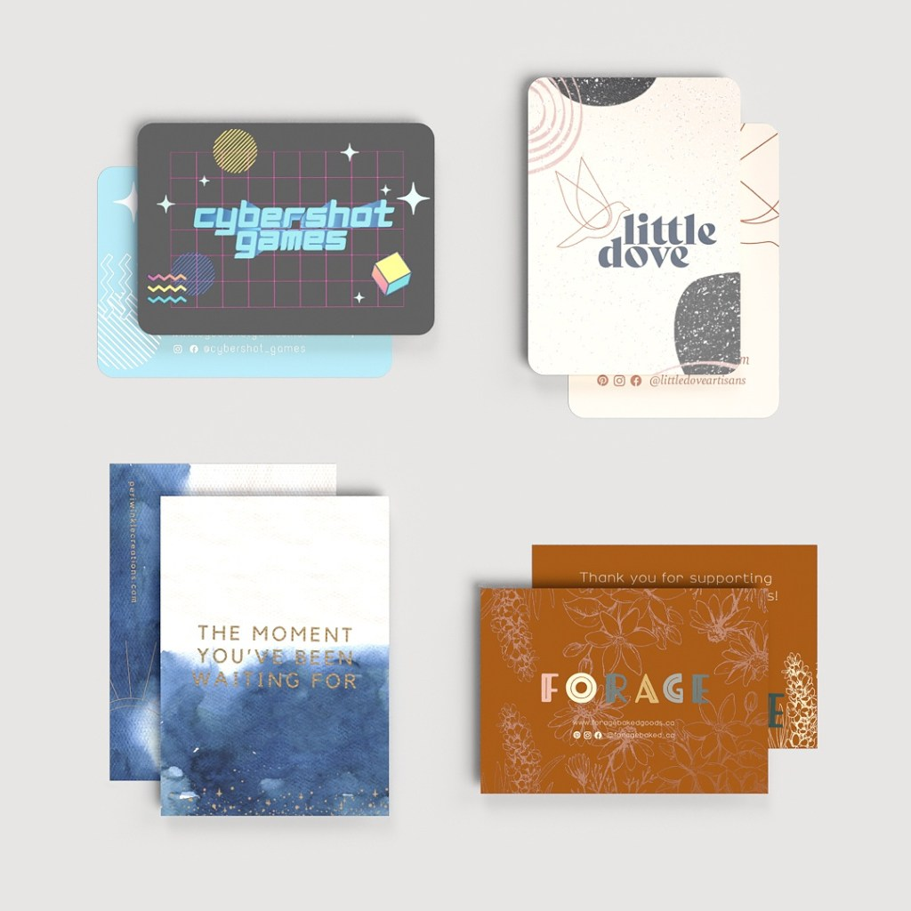 various thank you card inserts for e-commerce brands