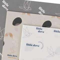 three different designs for the same brand, all printed on a white base
