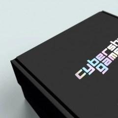 matte black mailer box with a holographic foil logo