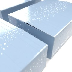 light blue boxes with middle closure and glossy lamination finish