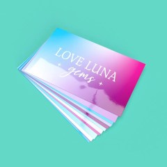 straight edge business cards with a full colour print design and glossy lamination