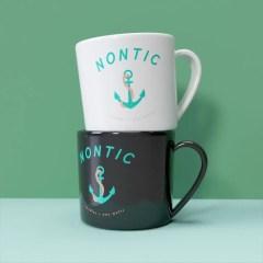 choose between a white or black mug base with a multicolour print