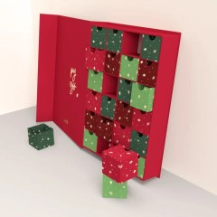 bright red calendar with individual drawer inserts in various shades of red and green