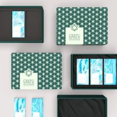 collection of bases and lids with velvet and foam inserts. These boxes are made with greyboard and covered in paper for a high resolution result
