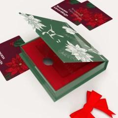 a multicolour seasonal print on a thick greybeard material with folding carton insert