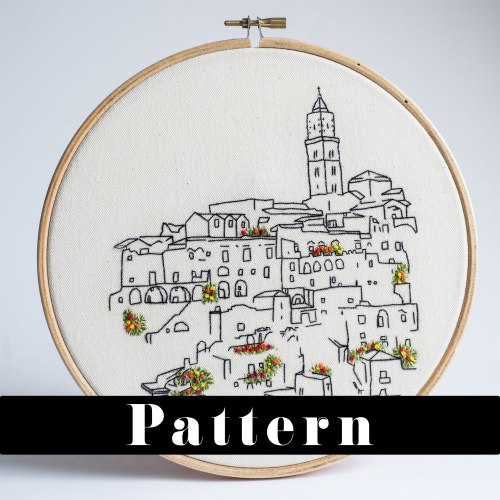 Sassi Di Matera, Italy - Embroidery Pattern - PDF Download