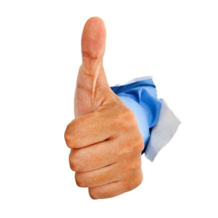 Male hand with thumb up isolated with white background