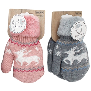 A pink and grey mitten, with a reindeer printed on the base and cosy warm cuffs.