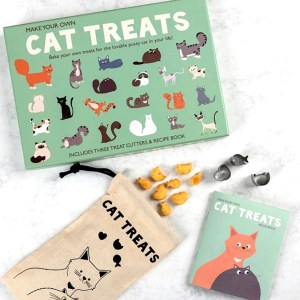 A photo of the product open including the handbook and a cute cat treat bag