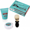 Shaving brush, Soap and aftershave bar.