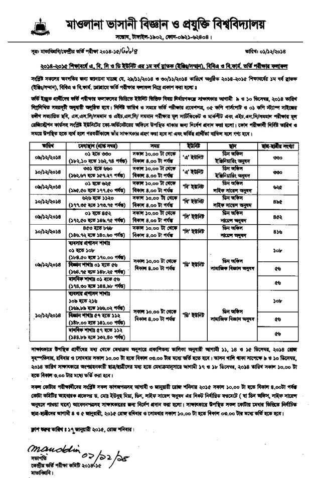 MBSTU Admission Notice