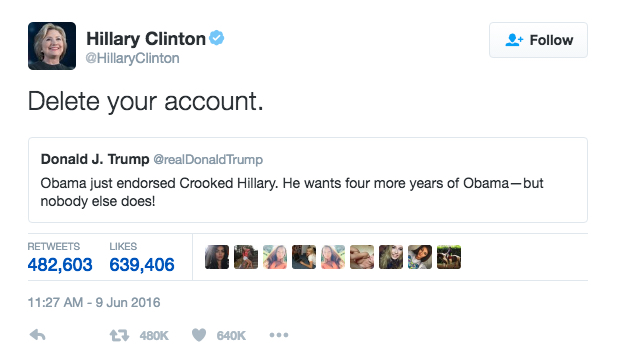 """""""Efface ton compte"""" réponds Hillary a Trump qui vient de critiquer le soutien officiel que vient de lui apporter le président Obama le 9 juin dernier"""