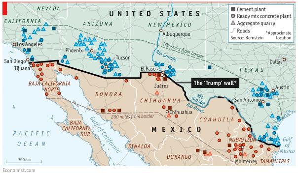 La Carte géopolitique représentant le mur de Donald Trump entre les Etats-Unis et le Méxique - The Economist