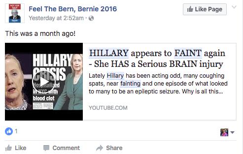 Hillary s'est encore évanouie et souffrirait d'un grave problème au cerveau.