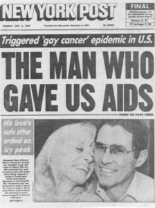 """New York Post - Edition du 4 octobre 1987: """"L'homme qui nous a apporté le Sida"""""""
