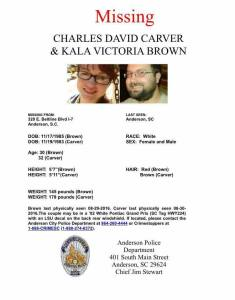 Avis de recherches lancés par les familles des disparues, Charles David Carver et Kala Victoria Brown