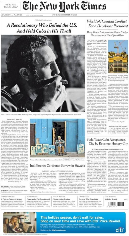 The New York Times - Edition du dimanche 27 novembre 2016