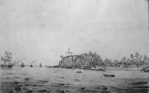 Des chaloupes mènent les médecins aux navires ancrés au large dans le secteur ouest de Grosse-Île, 1832