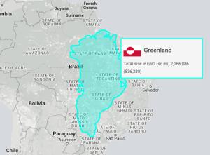 Le territoire du Groenland inséré à l'intérieur du Brésil.