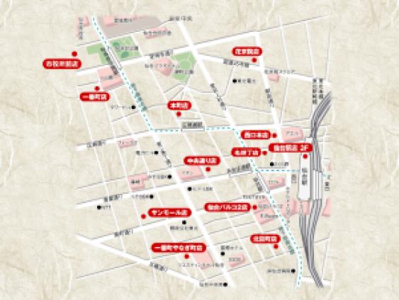 仙台牛たん利久店舗マップ