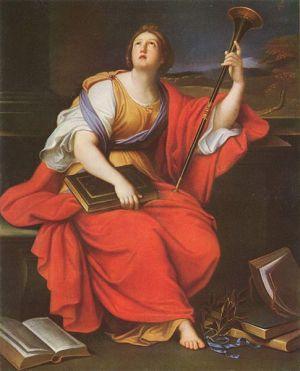 Clio, historiefagets muse malet af Pierre Mignard. Overvejer hun om dokumentationen er i orden? Kilde: Wikimedia, public domain.