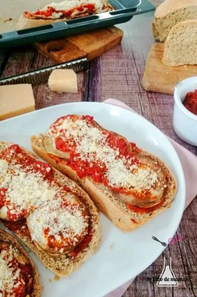 bruschettas aubergine et parmesan