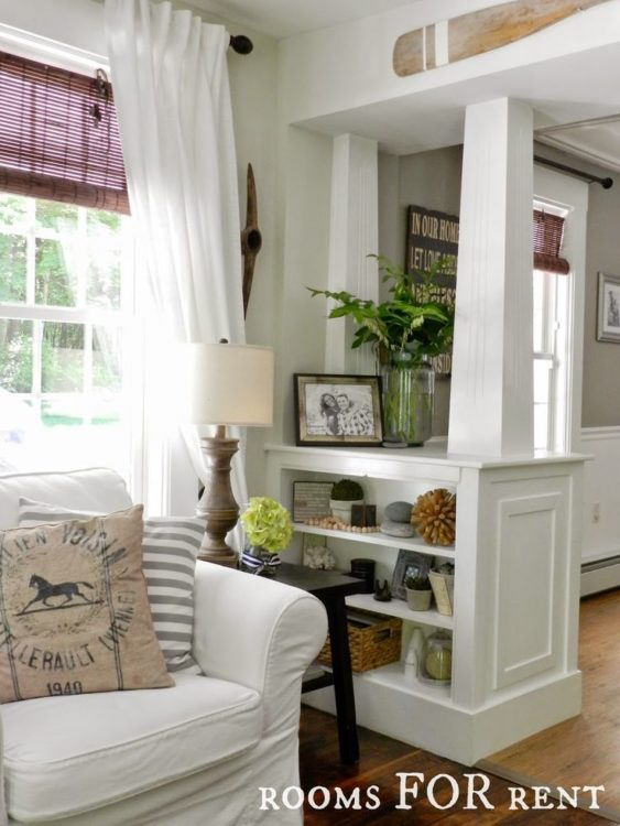built in room divider to add character to a home