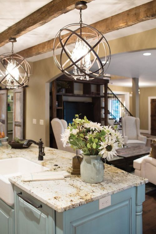 add wood beams and new lighting to give your home character
