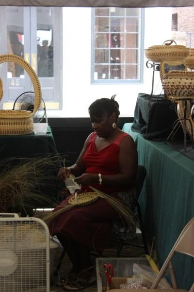 Charleston SC Gullah Lady making basket