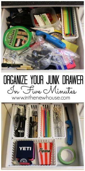 Organize your junk drawer in five minutes for five dollars. Super easy project to get a head start on spring cleaning.