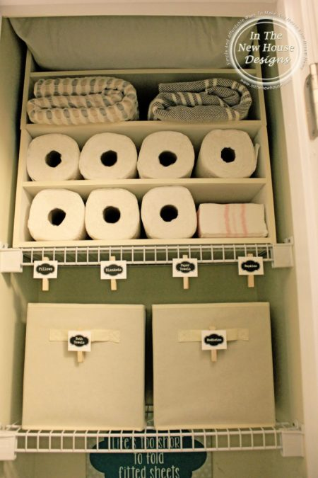 Use an inexpensive shoe rack to organize the linen closet