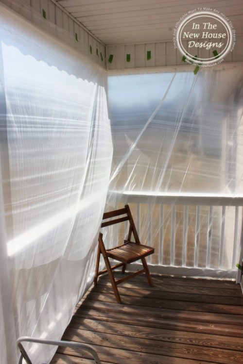 tape plastic drop cloths inside porch to keep paint splatters from going inside