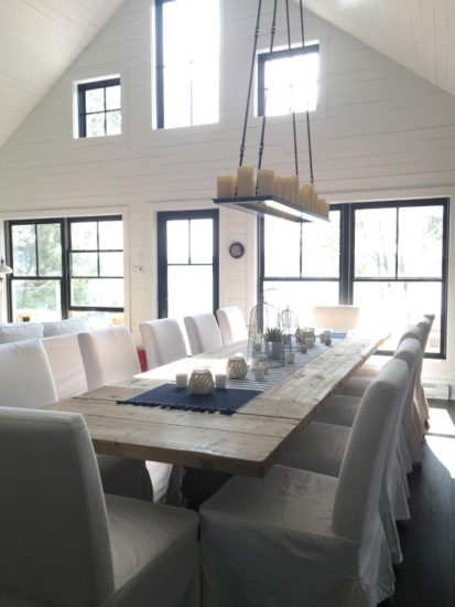 Tour this stunning farmhouse style lakeside cottage at In The New House Designs