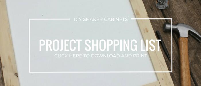 DIY Shaker Cabinet Shopping List