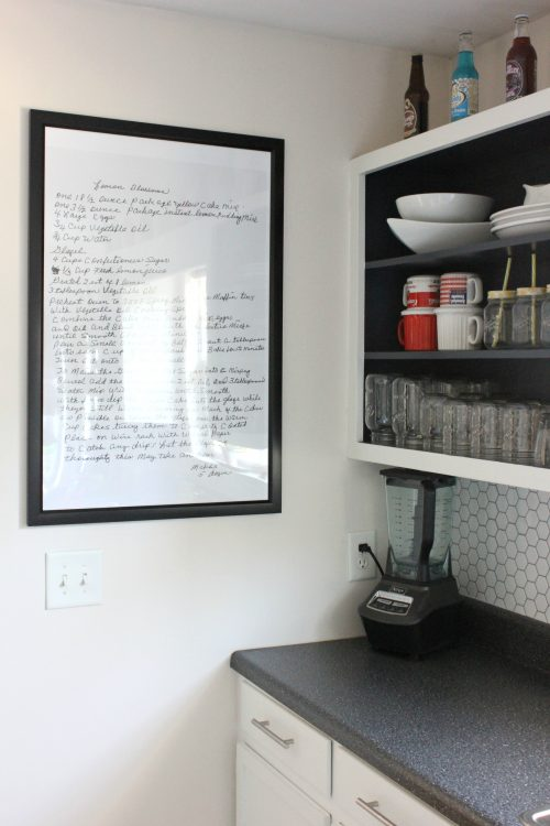 Handwritten recipe framed in kitchen