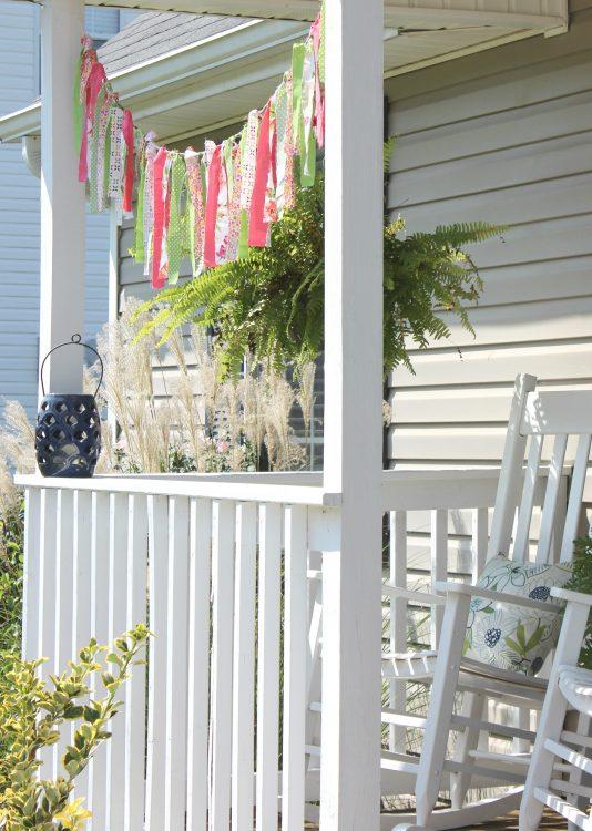 colorful fabric scrap garland DIY