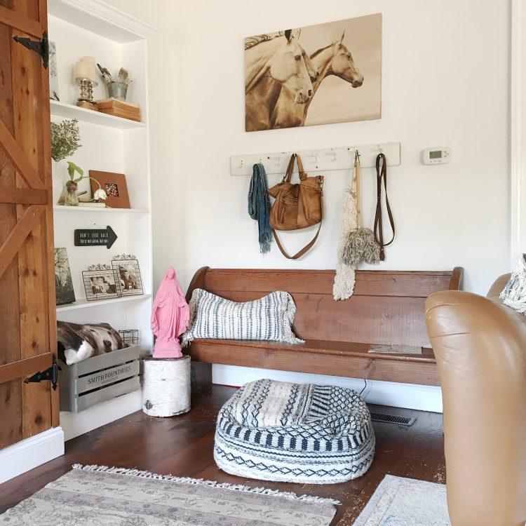 farmhouse western rustic living room wood pew
