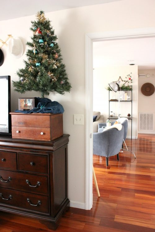 little christmas tree in master bedroom