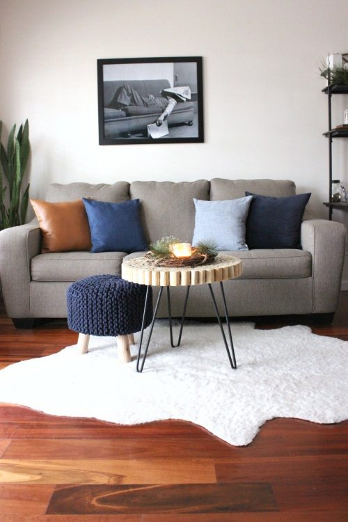 minimalist blue denim christmas decor living room